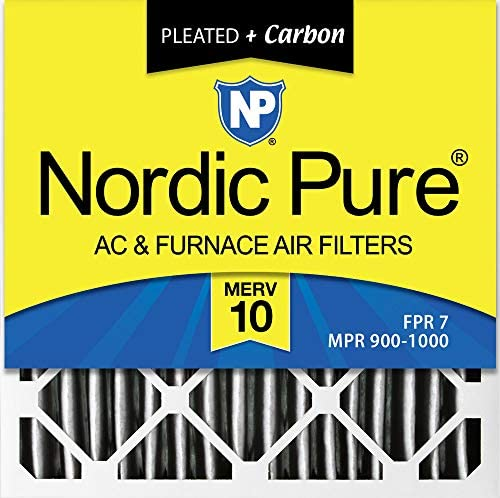 Nordic Pure 16x 16x 1pm10C-6Bundfaltenhose Merv 10Plus Carbon AC Ofen Filter (6Pack), 40,6x 40,6x 2,5cm