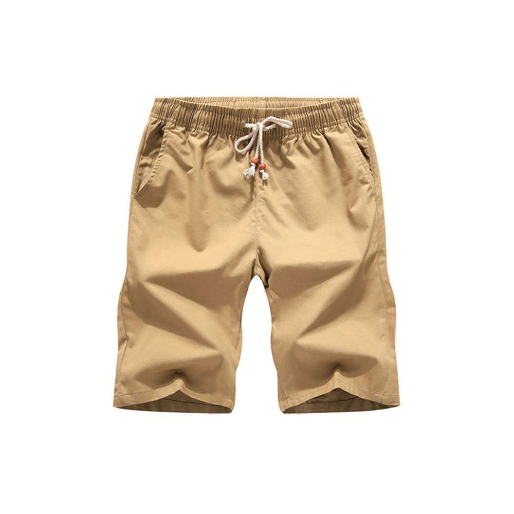 Seamido Mens Linen Casual Classic Fit Short Flat-Front Chino Drawstring Summer Beach Shorts