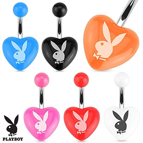 - Belly Button Ring Playboy Bunny Printed Heart Acrylic 316L Surgical Steel Navel Ring