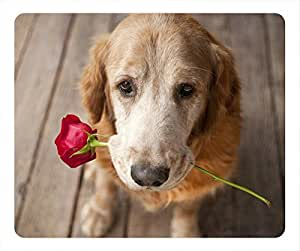 Dog with rose Masterpiece Limited Design Oblong Mouse Pad by Cases & Mousepads