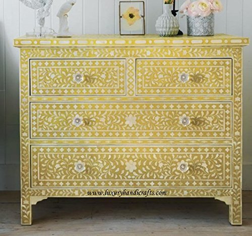 Inlaid Bone (Bone Inlay Floral Chest of Four Drawers)