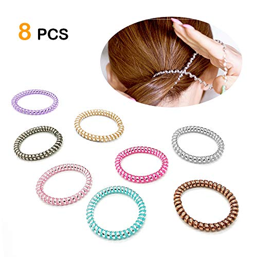 Spiral Hair Ties, High Toughness Spiral Telephone Hair Ties, 8Pcs Coil Hair Ties, Telephone Wire Headband, Phone Cord Hair Ties (Fluorescent Series)
