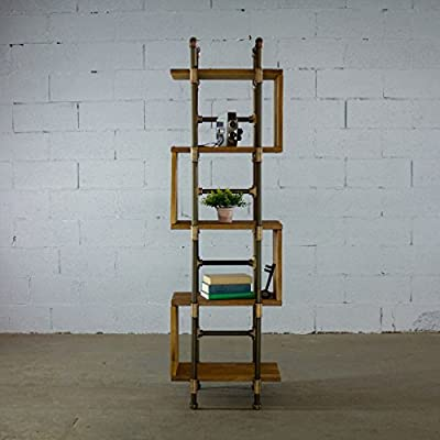 FURNITURE PIPELINE Tucson Modern Industrial Etagere Solid Wood Free Standing Storage Shelves Display Bookcase (Light Brown Stained Wood) - OUR PROMISE: For every Tucson pipe bookcase/etagere you purchase, Furniture Pipeline promises to plant seven trees on your behalf in areas such as Madagascar, Haiti and Nepal. Pipe Frame - Aircraft grade Aluminum / Wood Shelf - Sustainable Paulownia hardwood with Reclaimed aged finish Product Weight - 40 LB / Shelf Weight Capacity - 25 LB - living-room-furniture, living-room, bookcases-bookshelves - 5102DA2B1ML. SS400  -