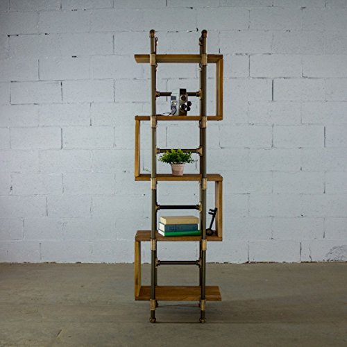 FURNITURE PIPELINE Tucson Modern Industrial Etagere Solid Wood Free Standing Storage Shelves Display Bookcase (Light Brown Stained Wood) (Aircraft Display Shelf)