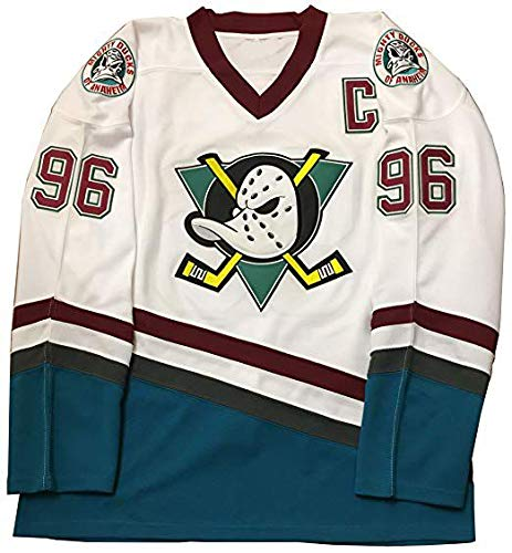 oldtimetown Mighty Ducks Movie Hockey Jersey 96 Conway 90S Hip Hop Adults Clothing for Party, Stitched Letters and Numbers (White, X-Large)