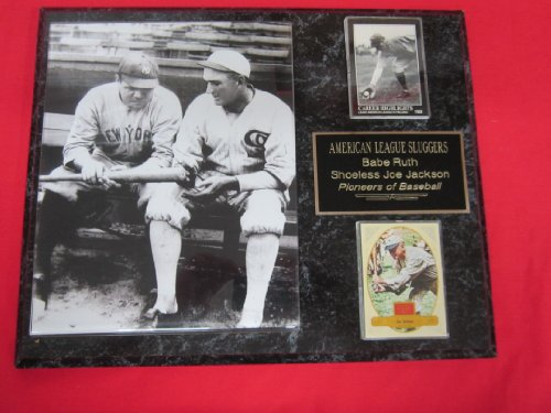 BABE RUTH and SHOELESS JOE JACKSON 2 Card Collector Plaque w/8x10 RARE Photo