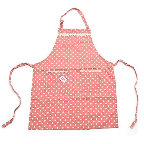 Pink Papaya Schürze, Kochschürze aus 100% Baumwollleinen, Küchenschürze EMMA, Farbe: pink/weiß gepunktet mit Spitzenapplikationen