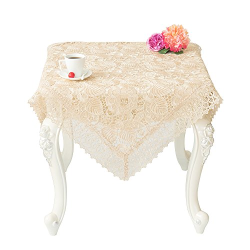 Just-Enjoy Lace Charlotte Polyester Hollow Out 36x36 Inches Square Table Covers Embroidery Design (36' Lace Runner)