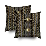 Shorping Zippered Covers Pillowcases 18X18 Inch 2 Pack Vintage Gold Greek Pattern Abstract Background Modern Ornament Vertical Stripes Waves Lines Decorative Throw,Cushion Cover for Home Sofa Bedding