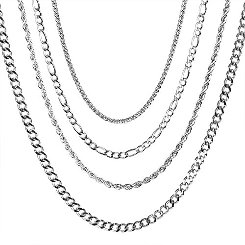 AIMEI Stainless Steel Chain Necklace Jewelry for Men Women 4pcs a Set