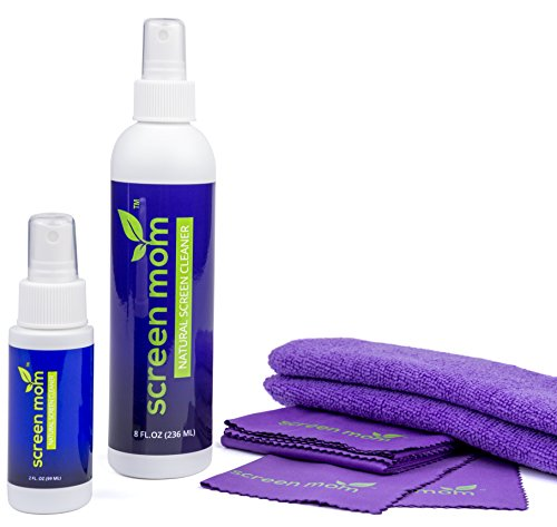 Screen Mom Screen Cleaner Home & Away Bundle - Designed for LED, LCD, Plasma, TV, iPad, Laptop, Computer Monitor, Tablets, Phones, Eyeglasses - Includes 8oz & 2oz Bottle with 4 Microfiber Cloths