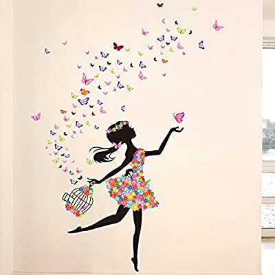 SWORNA Nature Series Butterfly Girls Wall Decals Stickers Decor Paintings Murals for Bedroom Living Room