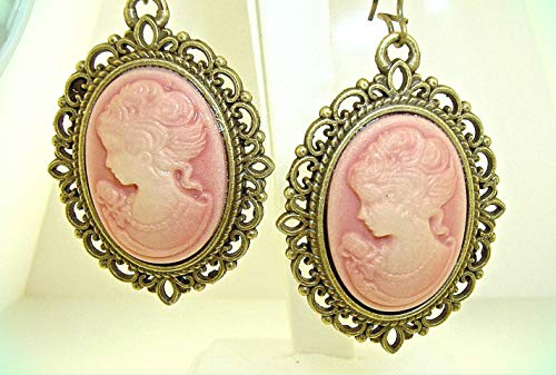 Large Antique-look pink CAMEO Bronze-tone Dangle Earrings 2