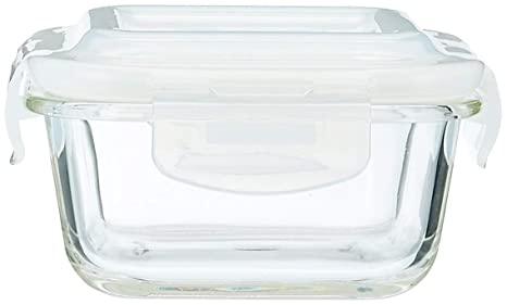 Borosil Klip and Store Glass Square Containers with Lid, 320 ml   Set of 2 Jars   Containers
