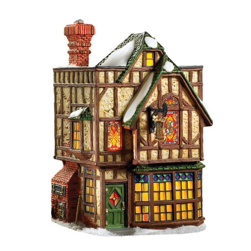 Department 56 Dickens' Village William and Robert Glaser Stained Glass Shop Lit Building by Department 56