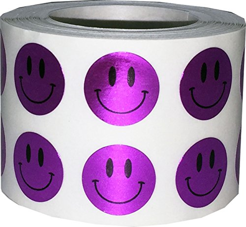 Metallic Purple Smiley Face Circle Dot Stickers, 1/2 Inch Round, 1000 Labels on a Roll (Face Purple Smiley)