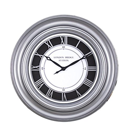 DXNSPF Brushed Wall Clock, European Style Retro Mute Home Living Room Wall Decoration Pendant, 16Inch, sliver