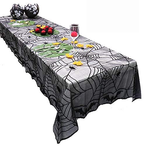 Aoile Halloween Spider Web Bat patrón Mantel Ornamento hogar decoración