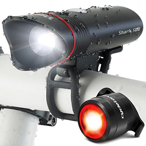 SUPERBRIGHT Bike Light USB Rechargeable LED – FREE Taillight INCLUDED- Cycle Torch Shark 500 Set - 500 Lumens - Fits ALL Bikes, Hybrid, Road, MTB, Easy Install & Quick (Combo Lite Combination Clamp)