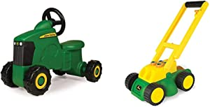 TOMY John Deere Sit-N-Scoot Tractor Toy, Green, One Size & John Deere Electronic Lawn Mower, Toy for Kids