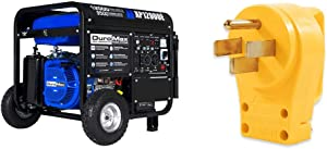 DuroMax Gas Powered Portable 12000 Watt-Electric, 50 State Approved Generator & Camco PowerGrip Replacement Plug- Transform Your RV Plug Into a Safe and Durable PoweGrip Cord 50 AMP (55255)