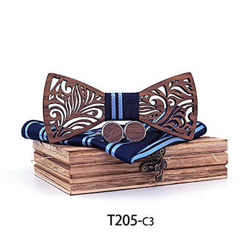 Aeytbanld Wooden Bow Tie Set and Handkerchief Bowtie Necktie Gift for Men Chirstmas T205-C3 (Clipart Chirstmas)