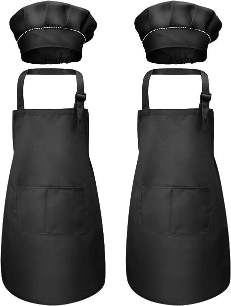 Regolabile Bambino Grembiule da Cucina con 2 Tasche per Ragazze Ragazzi 7-13 Anni Grembiuli da Chef per Cucinare Cottura Pittura Artigianato Bambini Grembiule e Cappello da Cuoco Set Giallo