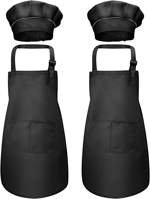 4 Pcs Black Kids Apron and Chef Hat Set 7-13 Year Boys Girls Adjustable Aprons with 2 Pockets Children Chef Apron Toddler Kitchen Garden Bib Aprons for Cooking Crafting Painting Baking