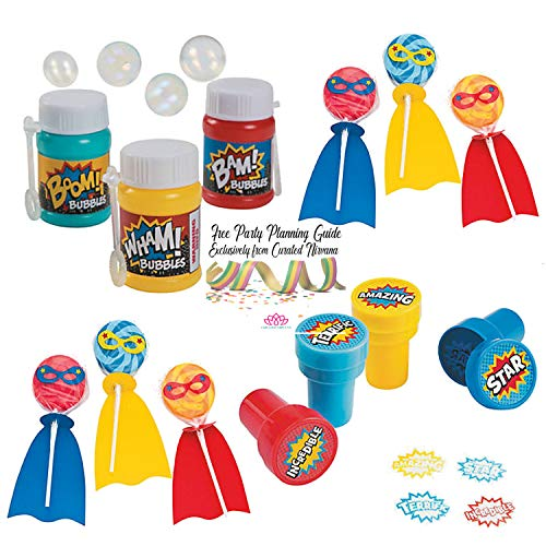 Curated Nirvana Superhero Party Favor Bundle | 24 Hero Suckers with Cape, 24 Mini Bubble Bottles with Comic Book Phrases & 24 Hero Phrase Ink Stamps -