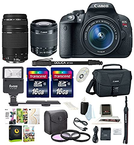 Canon Rebel T5i w/ 18-55mm and 75-300mm lenses + 32GB Bundle w/ Canon Bag, Dolica Monopod, Software Suite, & Loads (Camera T5i Bundle)