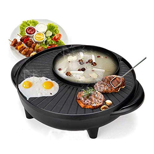 LYATW Electric Grill with Hot Pot, Non-Stick Coating Surface, Hot Pot with Glass Lid,1000W Barbecue Home Pot, Temperature Adjustable