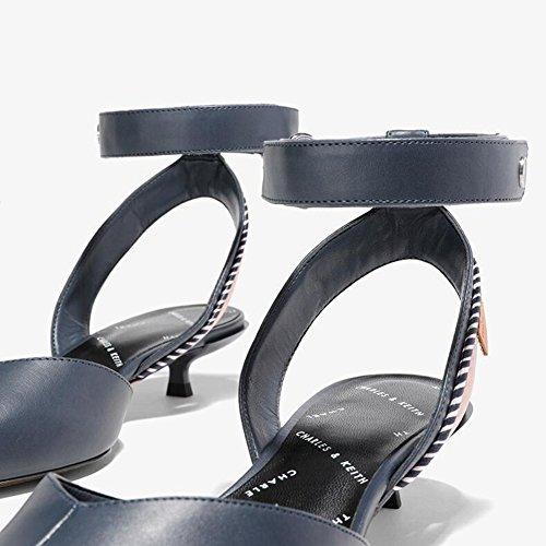Retro Zapatos Talón De Mujer De WYYY Apuntado Playa Verano Cruzado Bloque Temporada De Zapatos Sandalias Tacón Fiesta Azul Casuales Cinturón De Bajo Bajo Tacón Zapatos De Zapatos vdzzUWA