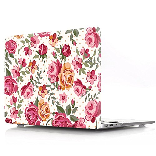 - MacBook Air 13 Inch Case Without Touch ID, iZi Way Red Floral Print Design Smooth Touch Plastic Hard Shell Case Cover for Model A1466 & A1369 - Drawing Rose