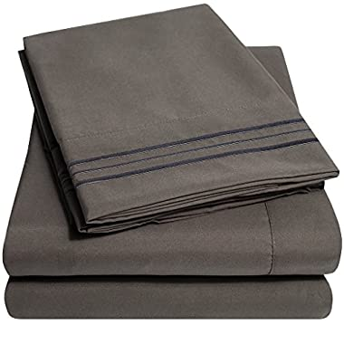 1500 Supreme Collection Bed Sheets - PREMIUM QUALITY BED SHEET SET & LOWEST PRICE, SINCE 2012 - Deep Pocket Wrinkle Free Hypoallergenic Bedding - Over 40+ Colors & Prints- 4 Piece, King, Gray