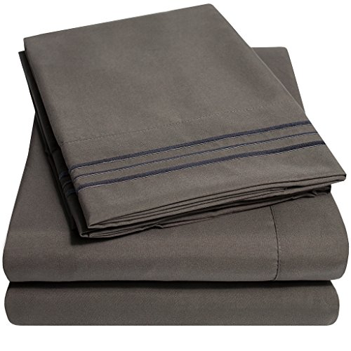 1500 Supreme Collection Extra Soft Queen Sheets Set, Gray – Luxury Bed Sheets Set With Deep Pocket Wrinkle Free Hypoallergenic Bedding, Over 40 Colors, Queen Size, Gray