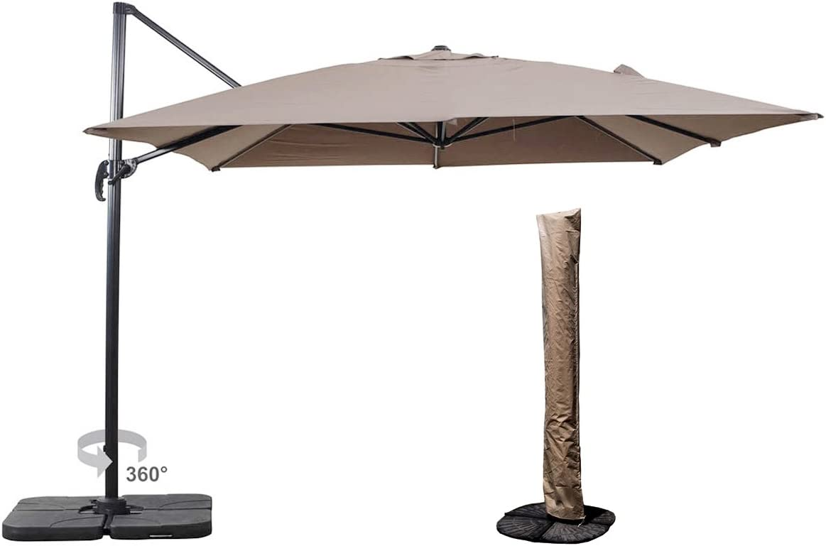 UNIBEST Patio 10 by 10-Feet Square Offset Cantilever Umbrella Patio Hanging Umbrella, 360 Rotation Patio Sun Shade Cantilever Crank Canopy, Umbrella Cover with Zipper Taupe