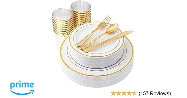 IOOOOO Gold Plastic Plates & Plastic Silverware & Gold Cups 150 Piece, Premium Disposable Dinnerware Set Includes: 25 Dinner Plates, 25 Dessert Plates, 25 Tumblers , 25 Forks, 25 Knives, 25 Spoons