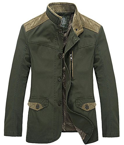 chouyatou Men's Mandarin Collar Front Button Slim Fitted Lightweight Cotton Suit Jacket (ArmyGreen, X-Large)