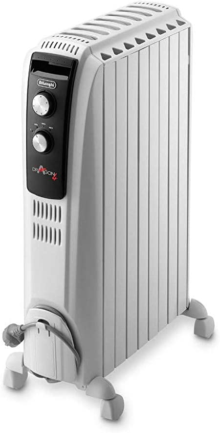 De Longhi Dragon Trd04 0820 Oil Radiator 2000 W Anti Frost Function 3 Power Settings Handle And Wheels Cable Storage White Amazon Co Uk Kitchen Home