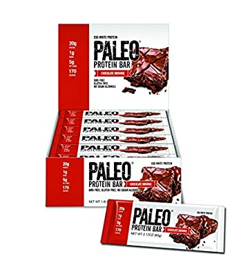 Paleo Protein Bar® (Chocolate Brownie) 12 Bars (20g Egg White Protein 5 Net Carbs) (1g Sugar Gluten Free)