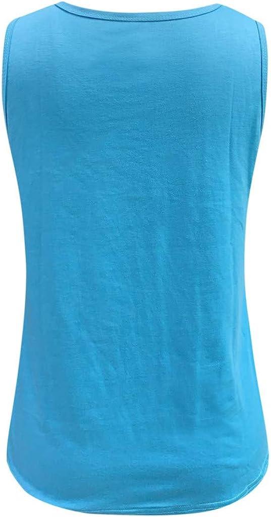 ZHENBAO Womens Star Print O-Neck Sleeveless Casual Loose Tank Tops Summer Vest Shirts