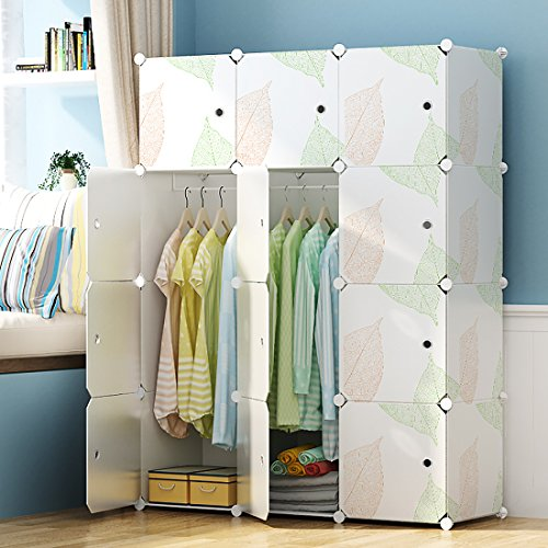 KOUSI Portable Closet Clothes Wardrobe Bedroom Armoire Storage Organizer with Doors, Capacious & Sturdy, Leaf Pattern, 6 Cubes+2 Hanging Sections