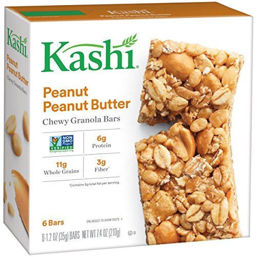 Kashi, Chewy Granola Bars, Peanut Peanut Butter, Non-GMO Project Verified, 7.4 oz (6 Count) (Butter Kashi Peanut)