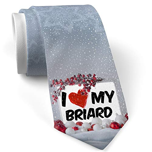 - Christmas NeckTie I Love my Briard Dog from France White with Snow