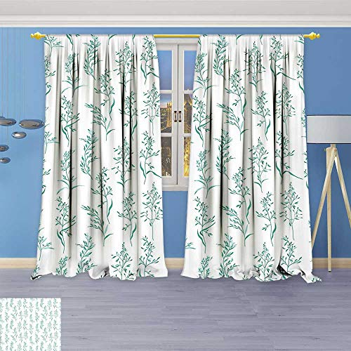 Pattern Sherry Kline (Philiphome Kitchen Decor Collection,Floral Pattern Moderate Essential Botanical Herbs Flower Plants Fresh Twigs Organic Theme Green,Window Treatments for Kitchen Curtains 2 Panels)