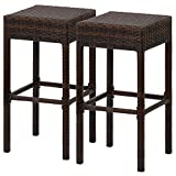 Wicker Stools Best Choice Products Outdoor Furniture Set of 2 Wicker Backless Bar Stools- Dual Tone Brown