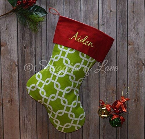 Monogrammed Green Christmas Stocking – Chartreuse Green Geometric Link Pattern and Red Stocking Cuff with Optional Personalized Name Embroidered – Handmade by Snuggles of Love