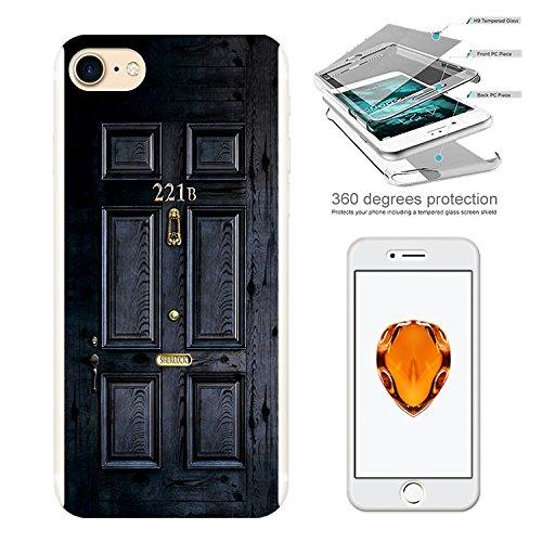 "001564 - 221B Sherlock Door Design iphone 7 Plus 5.5"" Komplett 360° Grad Vollschutz Schild Hülle Front&Back Hülle +Tempered Glass Screen"