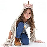 Unicorn winter hat with scarf pocket Crochet Cartoon Animal Fashion Warm Scarf Hooded Knit hat for children's Christmas gift