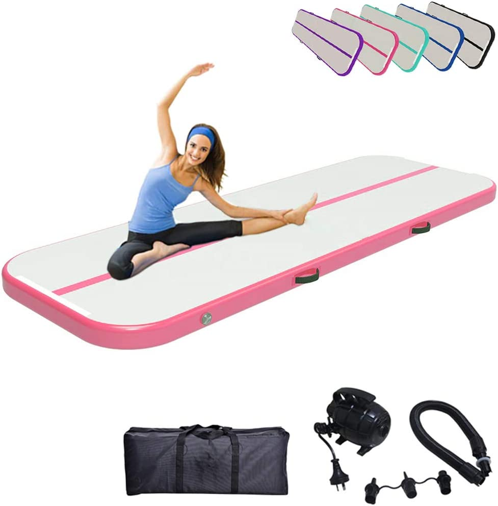 DOBESTS Air Track Gymnastics Mats Tumbling Mat 10ft 13ft 16ft 20ft Air Mat with Electric Pump for Gymnastic Training Air Barrel Roller Foldable Storage for Home Gymnastics
